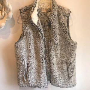 Altar'd State fluffy Sherpa vest gray Medium
